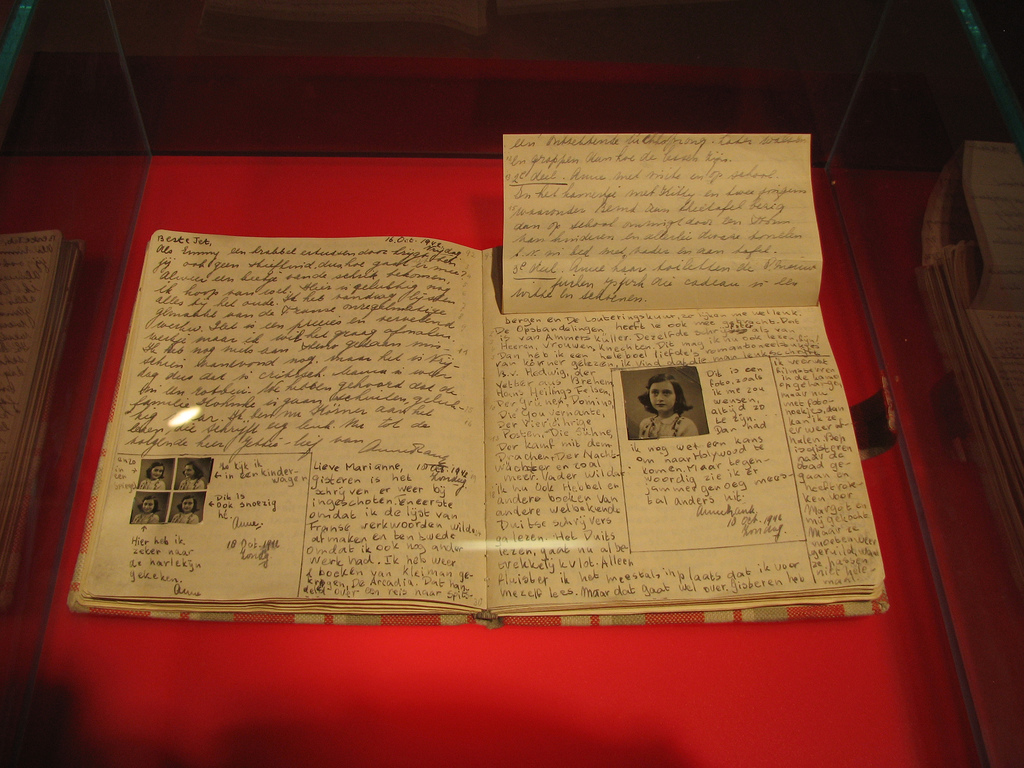 Anne Fank Diary at Anne Frank Museum in Berlin (credit: Heather Cowper, license: CC BY)